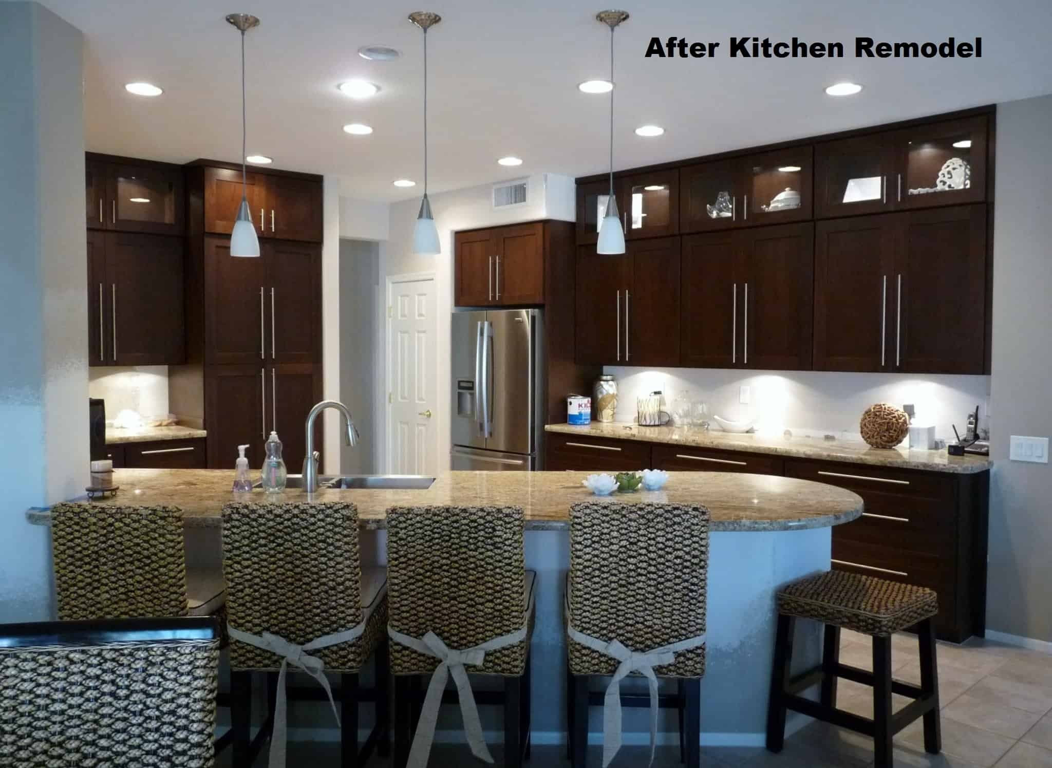 Kitchen remodeled with new cabinets