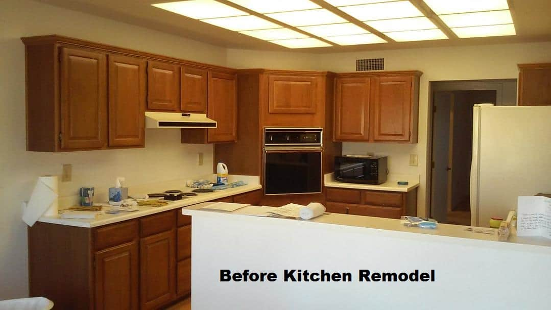 A large kitchen with corner oven before remodeling